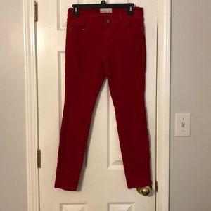 Red fine corduroy skinny jeans